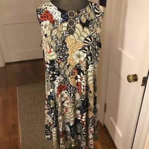 MSK Colorful Floral Sleeveless Shirt Dress Large